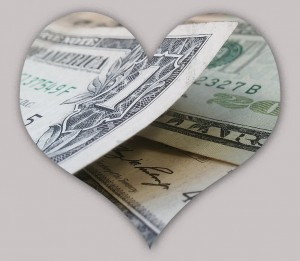 Heart with money in it